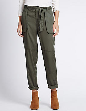 Tapered Leg Cargo Trousers with Belt