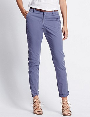Pure Cotton Tapered Leg Chinos with Belt, BLUEBERRY, catlanding