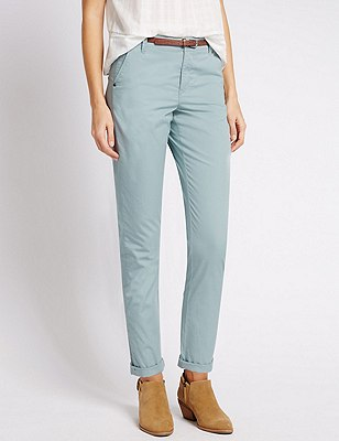 Pure Cotton Tapered Leg Chinos with Belt, DUCK EGG, catlanding