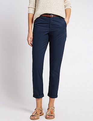 Pure Cotton Tapered Leg Chinos with Belt, NAVY, catlanding