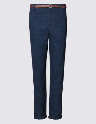 Зауженные брюки чинос из чистого хлопка с ремнём