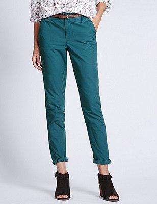 Pure Cotton Tapered Leg Chinos with Belt, TEAL, catlanding