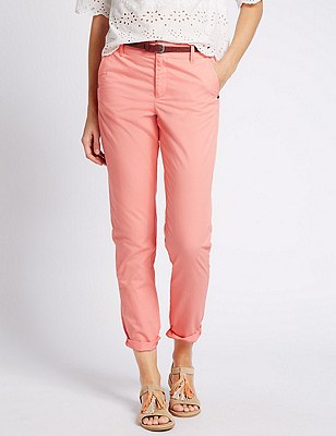 Pure Cotton Tapered Leg Chinos with Belt, SOFT CORAL, catlanding