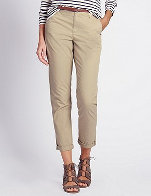 Pure Cotton Tapered Leg Chinos with Belt, STONE, catlanding