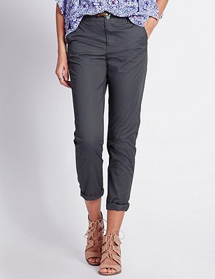 Pure Cotton Tapered Leg Chinos with Belt, GRAPHITE, catlanding