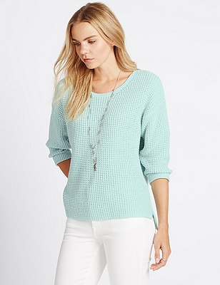 Pure Cotton Stitched Jumper, MINT, catlanding