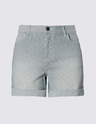 Хлопковые шорты в тонкую полоску