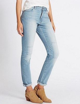 Girlfriend Denim Jeans, LIGHT INDIGO, catlanding