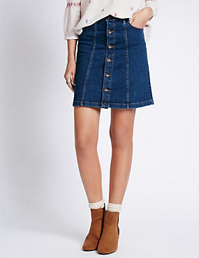 Denim Button Through A-Line Mini Skirt