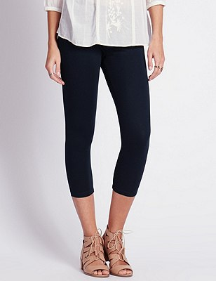 Cotton Rich Cropped Leggings, NAVY, catlanding
