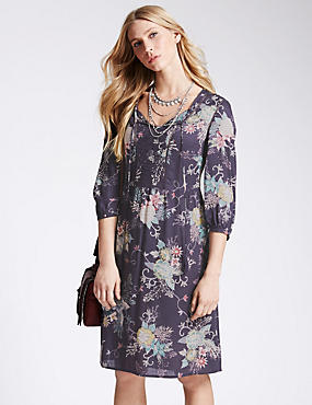 Pure Modal Floral Kimono Fit & Flare Dress