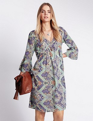 Pure Modal Floral Fit & Flare Dress, LILAC MIX, catlanding