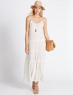 Pure Cotton Tier Maxi Dress, WHITE MIX, catlanding