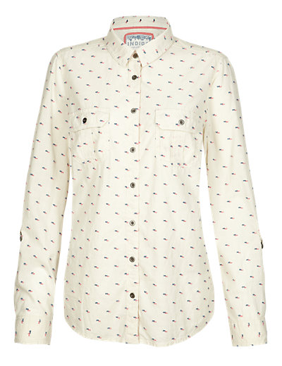 Pure Cotton Clipped Spotted Shirt Clothing