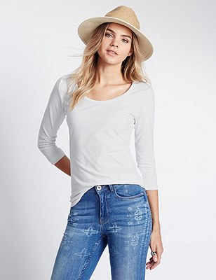 3/4th Sleeve Round Neck Top, WHITE, catlanding
