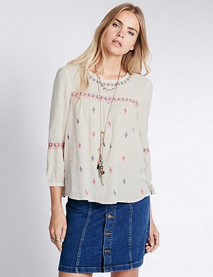 Diamond Embroidered Blouse, IVORY MIX, catlanding