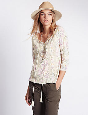 3/4 Sleeve Floral Swing Top with Modal