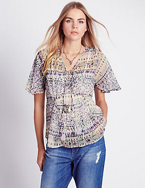 Contrast Print Crinkle Blouse