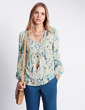 Pure Modal Abstract Geometric Print Blouse