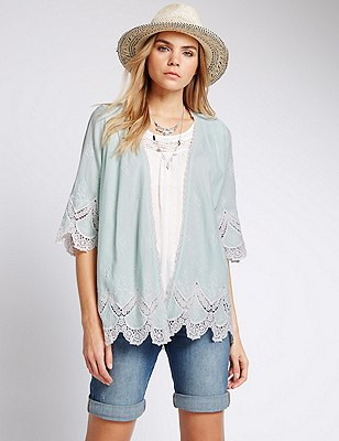 Pure Cotton Cornelli Kimono Top, MINT MIX, catlanding