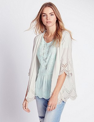 Pure Cotton Cornelli Kimono Top, SOFT WHITE, catlanding