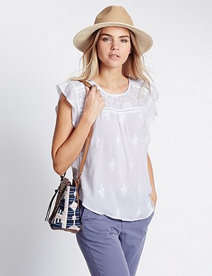 Pure Modal Frill Trim Blouse, IVORY, catlanding