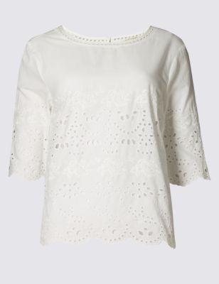 Блузка из чистого хлопка с вышивкой