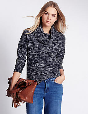 Cowl Neck Space Bouclé Top