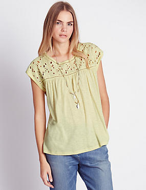 Floral Broderie Top with Modal