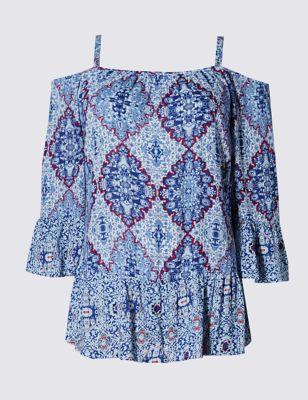 Блузка с бретельками и ярким мозаичным принтом