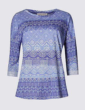 3/4 Sleeve Mosaic Print Top with Modal