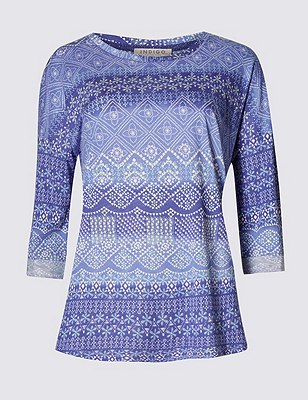 3/4 Sleeve Mosaic Print Top with Modal, LILAC MIX, catlanding