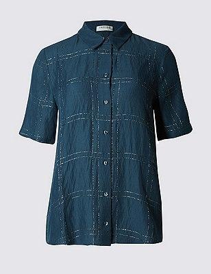 Metallic Effect Checked Shirt, DARK SLATE, catlanding