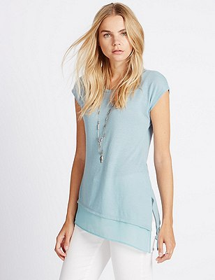 Double Layer Top with Linen, MINT MIX, catlanding