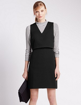 Double Layer Fit & Flare Dress, BLACK MIX, catlanding