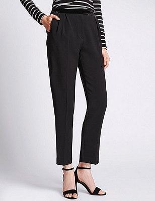 Tapered Leg Trousers, BLACK MIX, catlanding