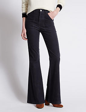 Cotton Rich Corduroy Flared Trousers