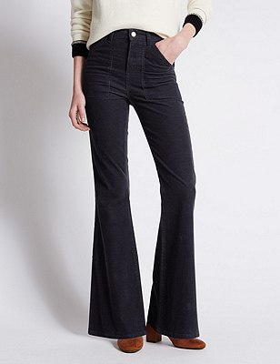 Cotton Rich Corduroy Flared Trousers, NAVY, catlanding
