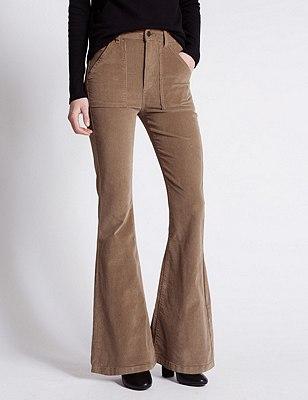 Cotton Rich Corduroy Flared Trousers, CAMEL, catlanding