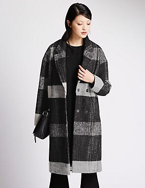 Checked Peacoat with Wool
