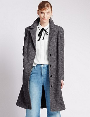 Long Sleeve Bouclé Coat with Wool, GREY, catlanding