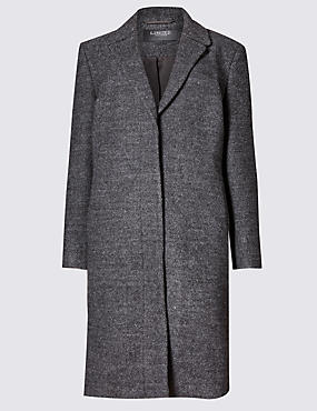 Long Sleeve Bouclé Coat with Wool