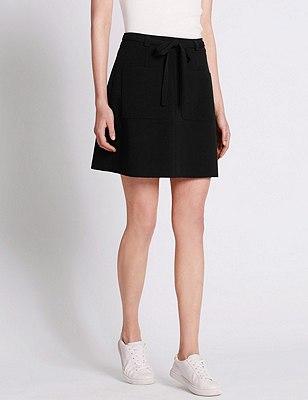 Front Tie A-Line Mini Skirt, BLACK, catlanding