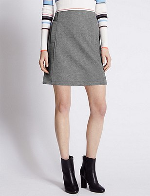Bonded A-Line Mini Skirt, GREY MIX, catlanding