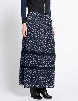 Ditsy Floral A-Line Maxi Skirt, NAVY MIX, catlanding