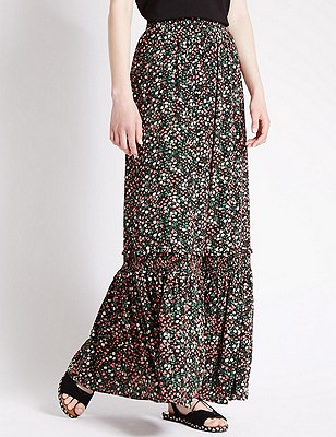Ditsy Floral A-line Maxi Skirt, BLACK MIX, catlanding