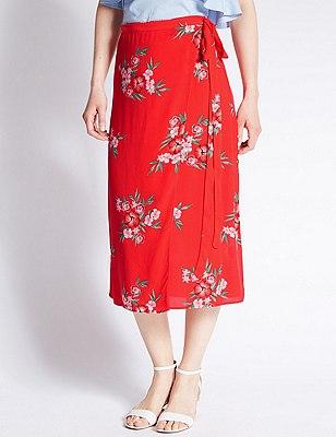 Floral Wrap A-Line Skirt, RED MIX, catlanding