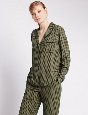 Pyjama Style Floral Blouse, KHAKI MIX, catlanding