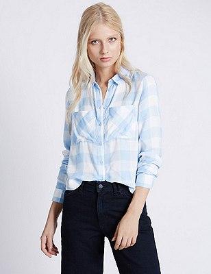 Pure Modal Gingham Checked Shirt, BLUE MIX, catlanding