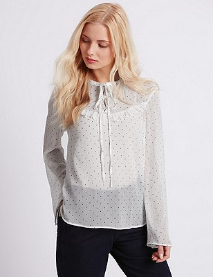 Spotted Frill Blouse, IVORY MIX, catlanding